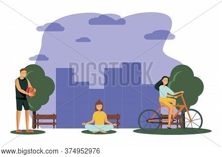 People Outdoor Sport Set. Men And Women Running, Cycling And Playing Basketball. Exercising In The O