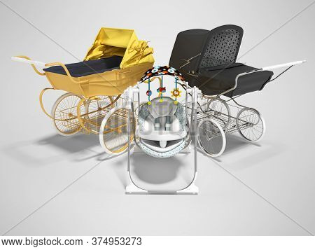 3d Rendering Concept Yellow And Black Baby Strollers For Child With Child Seat On Gray Background Wi