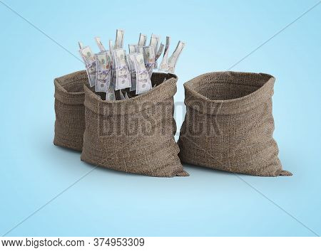 3d Rendering Concept Of Money Falling In Bag On Blue Background With Shadow