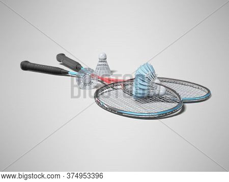 3d Rendering Of Badminton Racket With Shuttlecocks For Adults On Gray Background With Shadow