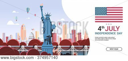 Statue Of Liberty Over United States Landmarks Independence Day Celebration Concept 4th Of July Bann