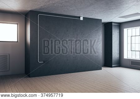 Minimalistic Gallery Interior With Columns And Empty Gray Wall. Art And Design Concept. 3d Rendering