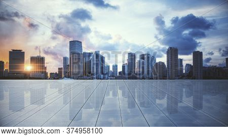 Modern Concrete Rooftop With Panoramic City View. Urban And Business Concept. 3d Rendering