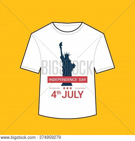 T-shirt With Liberty Statue American Independence Day Shirts Celebration 4th Of July Concept Vector