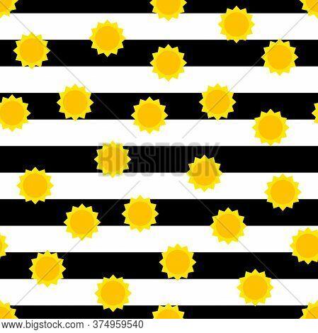 Seamless Sun Striped Pattern. Cute Yellow Sun On White Black Line Background. Color Sunrise Sunset S