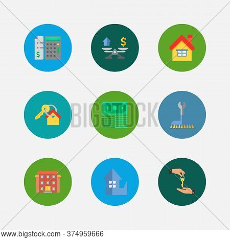 Property Icons Set. Deal And Property Icons With Home Replace, Residential Area And Property Valuati