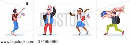 Set Mix Race People With Usa Flags Having Fun 4th Of July American Independence Day Celebration Conc