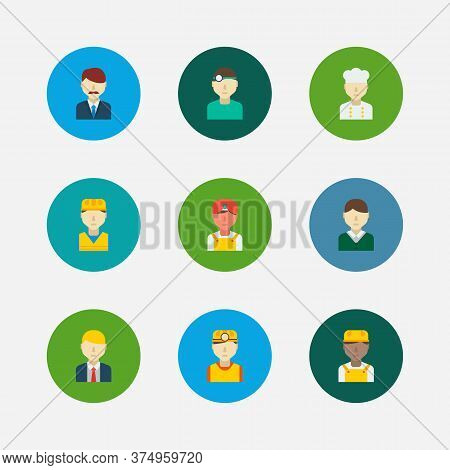 Occupation Icons Set. Indian Worker And Occupation Icons With Chef, Dentist And Construction Worker.