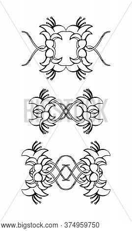 Set Of Vintage Ornaments. Frames, Borders, Dividers. Ornate Decorative Design Elements For Invitatio