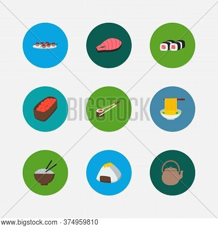 Food Icons Set. Gunkan And Food Icons With Teapot, Spaghetti And Rice. Set Of Cooked For Web App Log