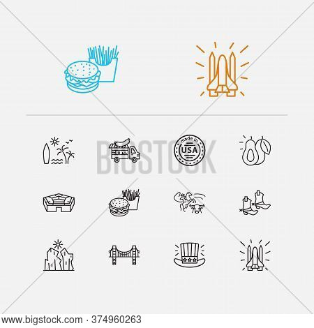 Us Icons Set. Made In Usa And Us Icons With Space Shuttle, Surfing And Avocado. Set Of Sun For Web A