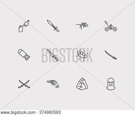 Military Icons Set. Stone And Military Icons With Sword, Balaclava And Brass Knuckles. Set Of Tradit