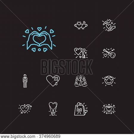 Amour Icons Set. Boyfriend And Amour Icons With Smiley With Heart Eyes, Family Tree And Key To Heart