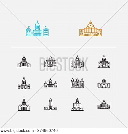 Us Capitols Icons Set. Congress And Us Capitols Icons With Exterior, Lowa State Capitol And Massachu