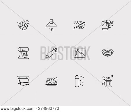 Kitchenware Icons Set. Drainer And Kitchenware Icons With Pepper Mill, Cutting Board And Kitchen Pap