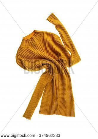 Rumpled Yellow Sweater Isolated On White. Messy Clothes
