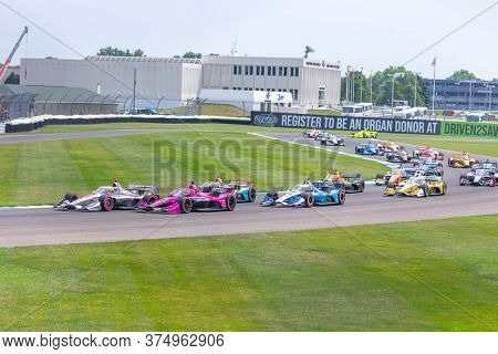 July 04, 2020 - Indianapolis, Indiana, USA: The green flag drops on the GMR Grand Prix at Indianapolis Motor Speedway in Indianapolis Indiana.
