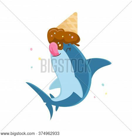 Cute Shark Character Licking Melted Ice Cream Cone Lying On Its Head With Sprinkles Around. T-shirt