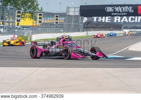 July 04, 2020 - Indianapolis, Indiana, USA: ALEXANDER ROSSI (98) of the United States  races through the turns during the  race for the GMR Grand Prix at Indianapolis Motor Speedway
