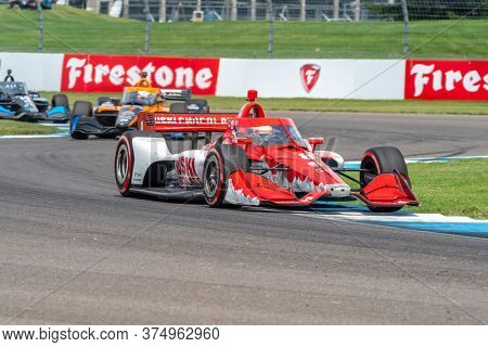 July 04, 2020 - Indianapolis, Indiana, USA: MARCUS ERICSSON (8) of Kumla, Sweden   races through the turns during the  race for the GMR Grand Prix at Indianapolis Motor Speedway