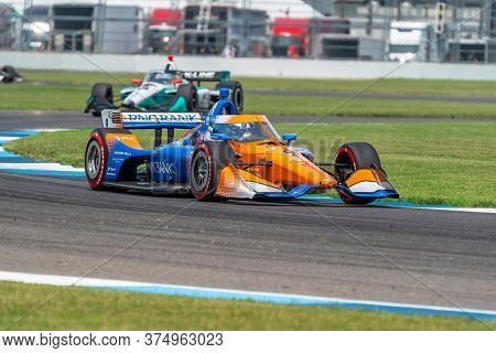July 04, 2020 - Indianapolis, Indiana, USA: SCOTT DIXON (9) of Auckland, New Zealand  races through the turns during the  race for the GMR Grand Prix at Indianapolis Motor Speedway
