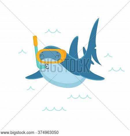 Cute Shark Character Snorkeling With Mask And Tube In Ocean Isolated On White Background. Summer Vac