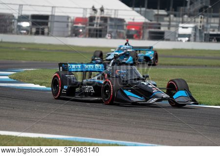 July 04, 2020 - Indianapolis, Indiana, USA: FELIX ROSENQVIST (10) of Värnamo, Sweden  races through the turns during the  race for the GMR Grand Prix at Indianapolis Motor Speedway