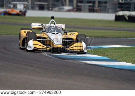 July 04, 2020 - Indianapolis, Indiana, USA: JOSEF NEWGARDEN (1) of the United States  races through the turns during the  race for the GMR Grand Prix at Indianapolis Motor Speedway
