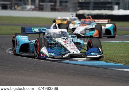 July 04, 2020 - Indianapolis, Indiana, USA: GRAHAM RAHAL (15) of the United States  races through the turns during the  race for the GMR Grand Prix at Indianapolis Motor Speedway