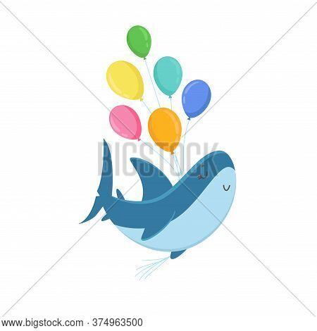 Cute Shark Character Holding Bunch Of Colorful Balloons Isolated On White Background. T-shirt Print,