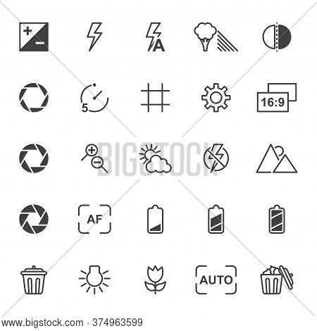 A Set Of Linear Icons Related To The Settings And Functionality Of The Camera. Contains Signs Of Fla