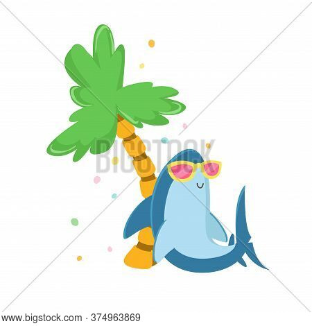 Cute Shark Character In Sunglasses Relaxing Under Palm Tree On Exotic Resort Isolated On White Backg