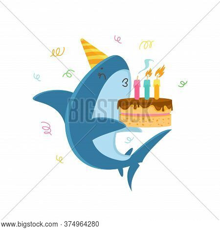 Funny Shark In Festive Hat Blowing Candles On Birthday Cake Isolated On White Background. T-shirt Pr