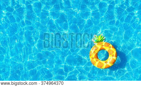 Pool Water Texture Background With Inflatable Pineapple Toy. Directly Above. Top View From Drone.