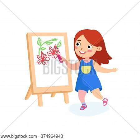 Happy Child Character Painting On Easel. Girl Drawing Flowers On Canvas Or Paper. International Kids