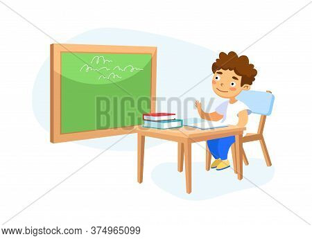Happy Kid School Boy Sitting At Desk In Classroom Studying, Schoolboy Character Raising Hand To Answ