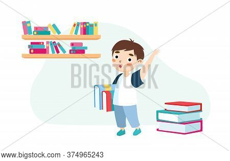 Little Boy With Books And Backpack Stand In Classroom Waving Hand Greeting Classmates And New Educat