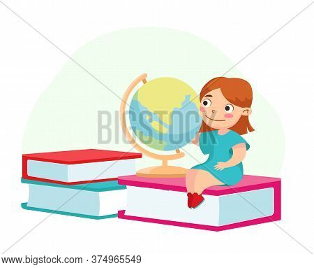 Back To School, Education And Knowledge Concept. Kid Character Studying, Little Girl With Globe Sitt
