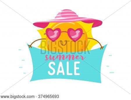 Summer Sale Banner With Cute Sun In Heart Shaped Sunglasses And Hat. Cartoon Kawaii Character Summer