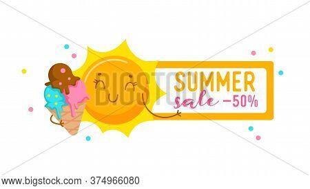 Summer Sale Banner With Cute Sun Eating Ice Cream. Cartoon Character, Kawaii Personage Enjoying Summ