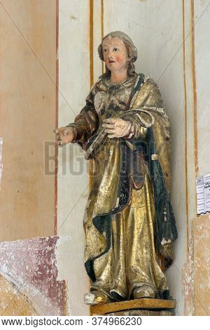 DESINIC, CROATIA - OCTOBER 18, 2013: Saint Anne, statue in the chapel of Saint Anne in Desinic, Croatia