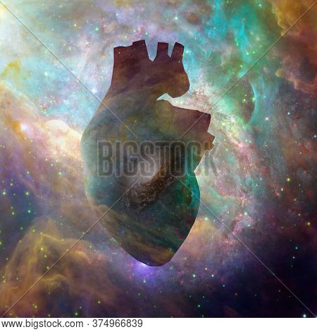 Interstellar Heart. Vivid nebulae. 3D rendering