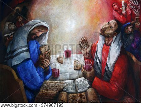 ROSENBERG, GERMANY - MAY 06, 2014: Supper at Emmaus, detail of high altar by Sieger Koder in Church of Our Lady of Sorrows in Rosenberg, Germany