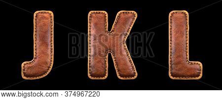 Set of leather letters J, K, L uppercase. 3D render font with skin texture isolated on black background. 3d rendering