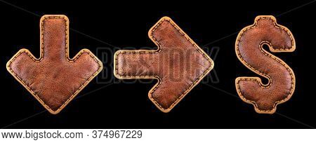 Set of symbols arrow to down, left arrow, dollar made of leather. 3D render font with skin texture isolated on black background. 3d rendering
