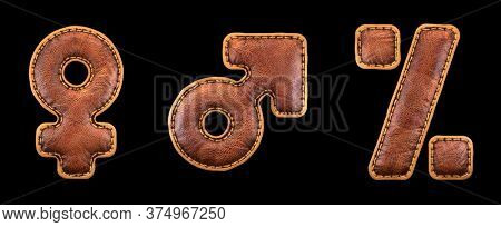 Set of symbols female, male, percent made of leather. 3D render font with skin texture isolated on black background. 3d rendering