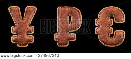 Set of symbols yen, rouble and euro made of leather. 3D render font with skin texture isolated on black background. 3d rendering