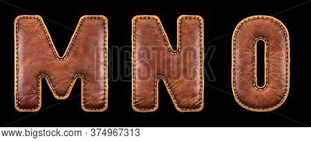 Set of leather letters M, N, O uppercase. 3D render font with skin texture isolated on black background. 3d rendering