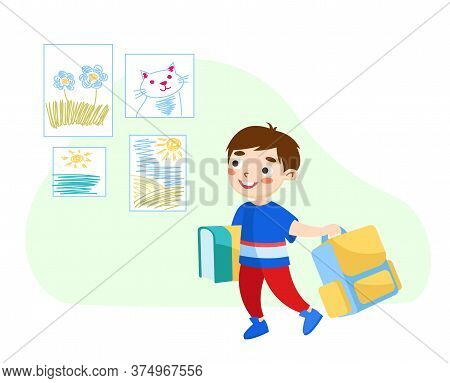 Back To School Concept, Little Boy With Books And Rucksack Come To Study, Get Education And Knowledg