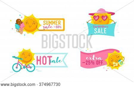 Set Of Summer Sale Banners With Cute Cartoon Sun Characters. Kawaii Personage Hot Offer, Summertime